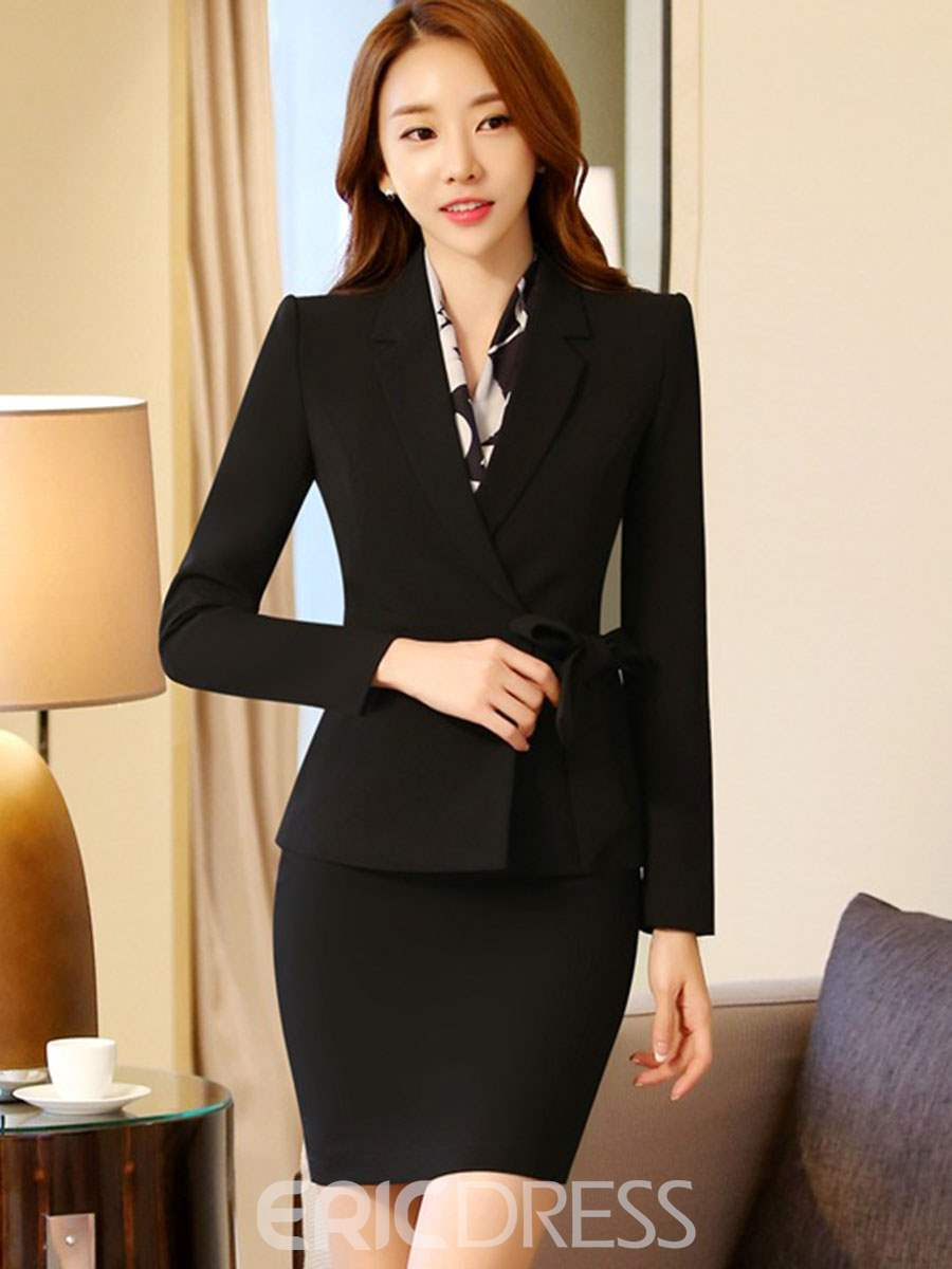 Ericdress Bowknot Blazer and Skirt Women's Suit