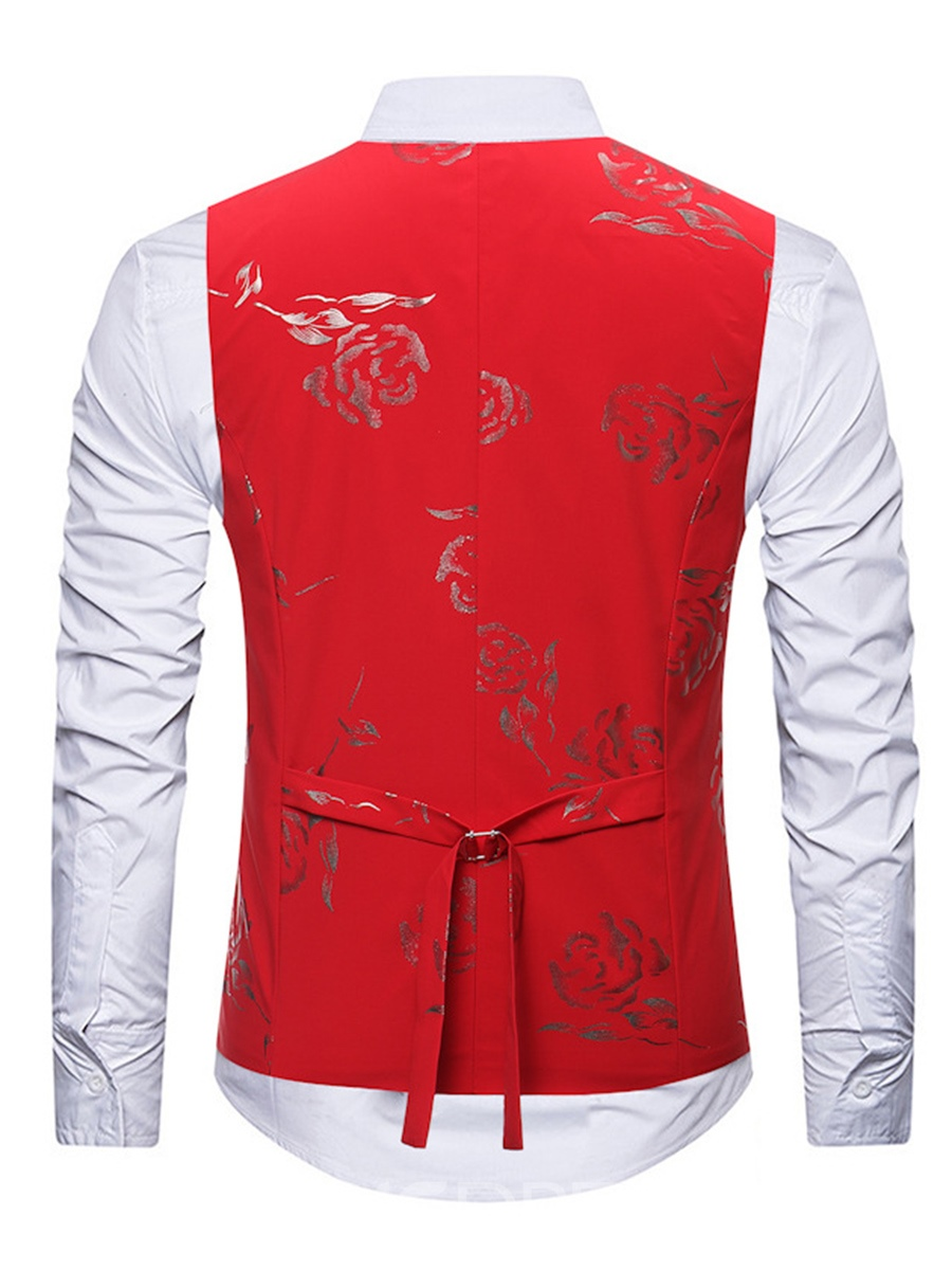 Ericdress Floral Casual Lapel Single-Breasted Mens Shirt