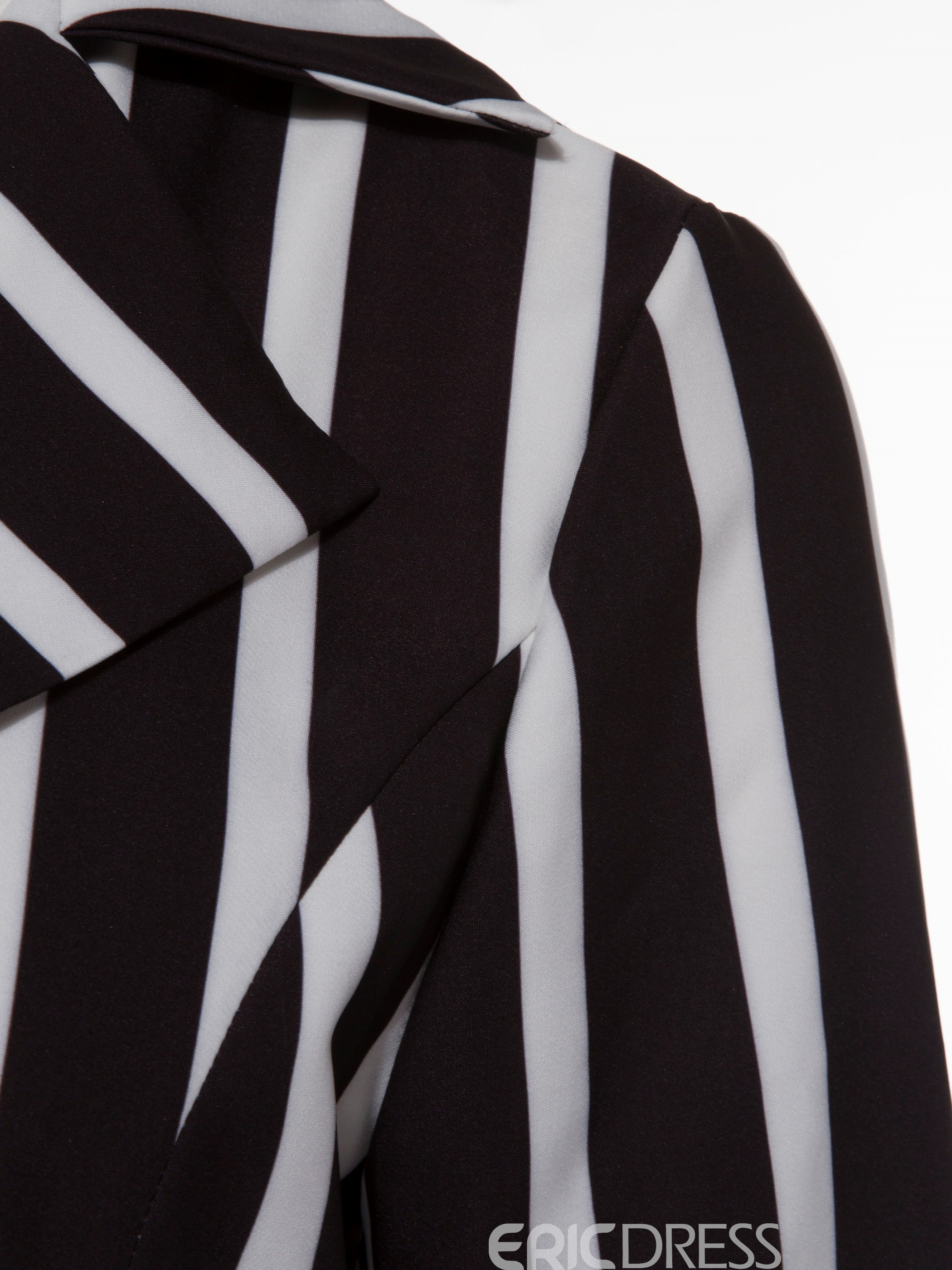 Ericdress Stripe Notched Lapel Long Jacket