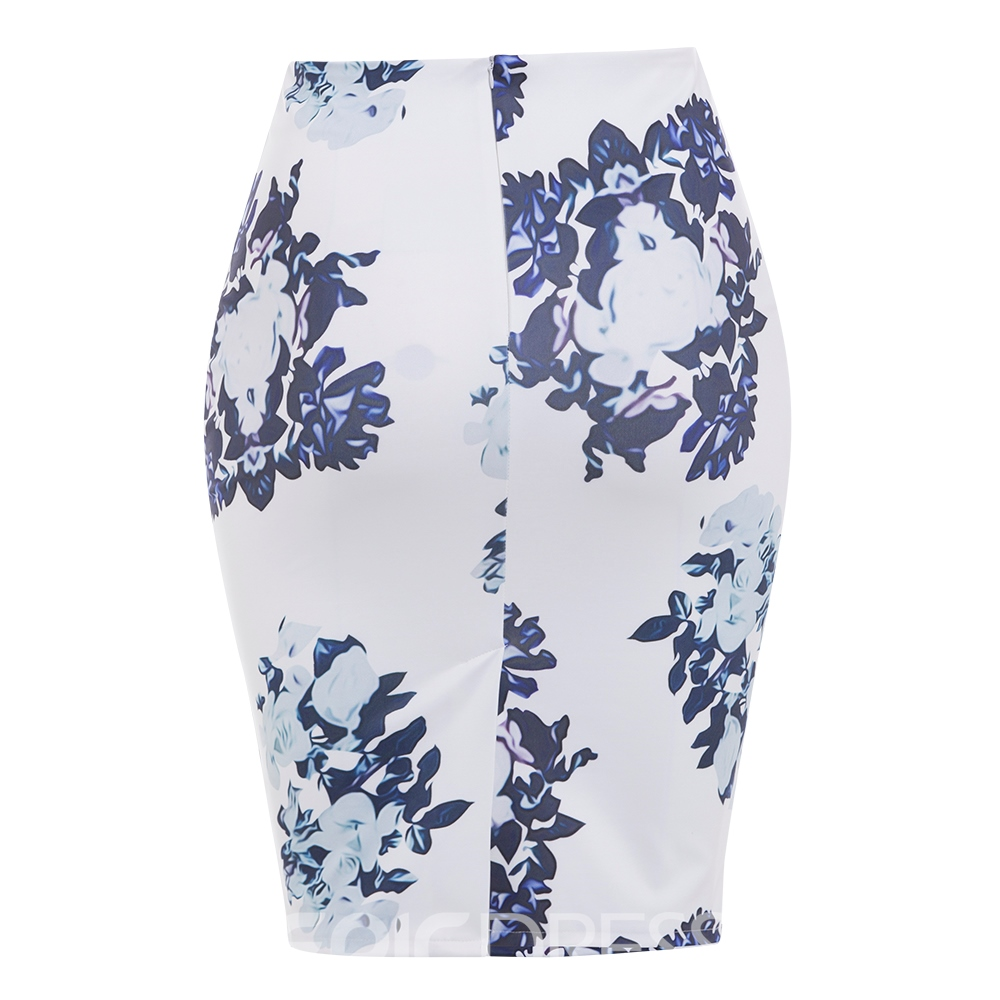 Ericdress Plus Size Floral Print Bodycon Women's Skirt