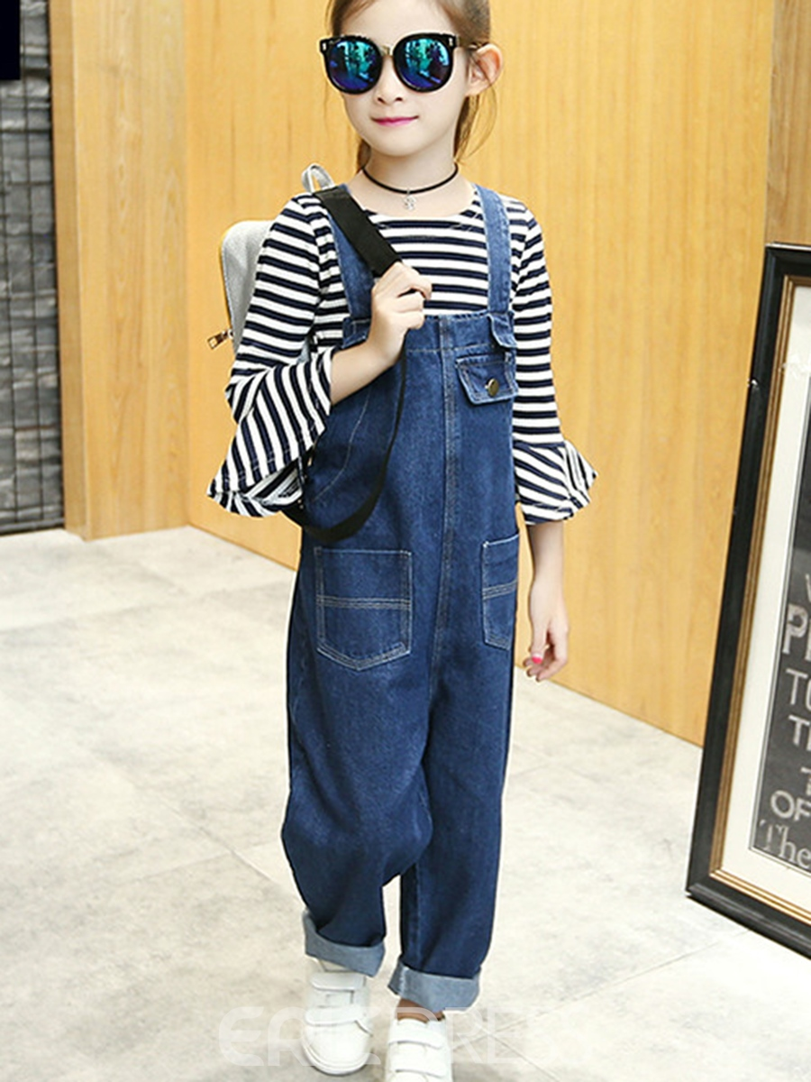 Ericdress Stripe Nine Ponints Sleeve T Shirt & Suspenders Girl's Outfits
