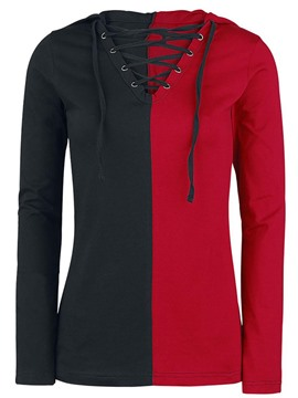 Ericdress V-Neck Lace-Up Color Block Cool Hoodie