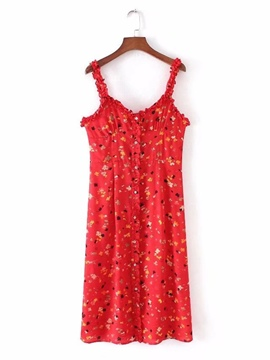 Ericdress Red Floral Printed Women's Day Dress