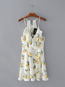 Ericdress White Lemon Pattern Women's Sexy Dress