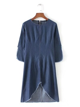 Ericdress Knee-Length Plain Round Neck Pullover Women's Day Dress