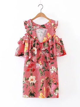 Ericdress Cold Shoulder Printing Women's Day Dress