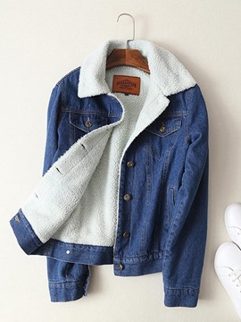Ericdress Lapel Single-Breasted Denim Jacket