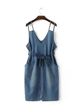 Ericdress Strappy Denim Pockets Women's Day Dress