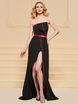 Ericdress Strapless Split Front Sheath Black Prom Dress