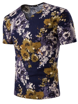 Ericdress Floral Print Color Block Men's Short Sleeve T Shirt
