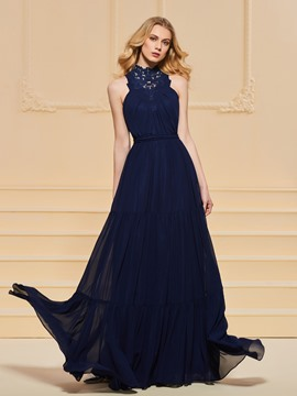 Ericdress A Line Applique High Neck Long Prom Dress