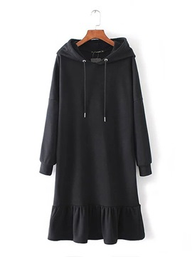 Ericdress Black Long Sleeve Women's Hooded Dress