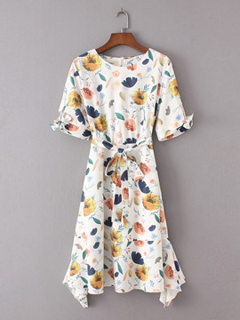 Ericdress Short Sleeve Printing Lace up Women's Day Dress