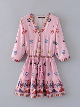 Ericdress 3/4 Sleeve Lace up Women's Day Dress