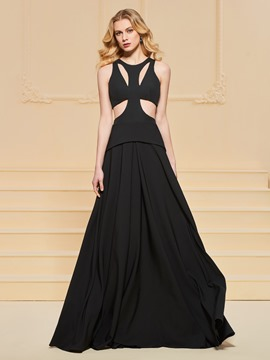 Ericdress Sexy A Line Black Prom Dress With Zipper-Up Back