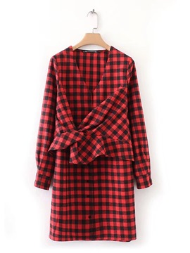 Ericdress Above Knee V-neck Plaid Straight Women's Day Dress