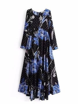 Ericdress Black Long Sleeve Printing Maxi Dress