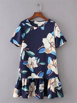 Ericdress Short Sleeve Loose Printing Women's Day Dress