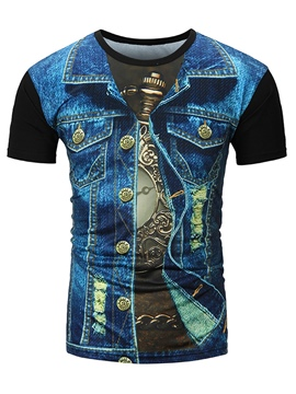 Ericdress Men's Print Slim Fit Short Sleeve T Shirt