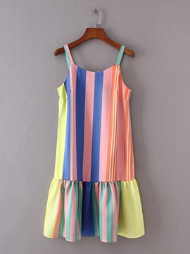 Striped Strappy Women's Day Dress