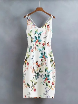 White Printing Women's Party Dress