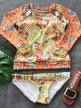 Ericdress Plant Floral Print Long Sleeve Tankini Swimsuits