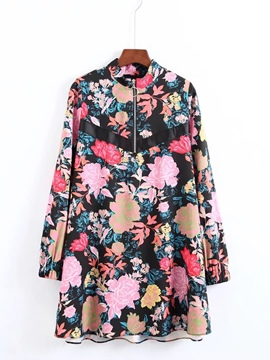 Ericdress Long Sleeve Printing Zippered Women's Day Dress