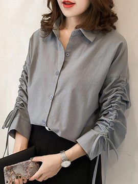 Ericdress Lapel Loose Plain Shirt