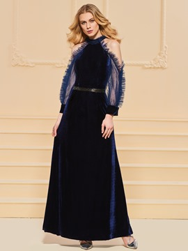 Ericdress A Line Scoop Neck Velvet Long Sleeve Evening Dress