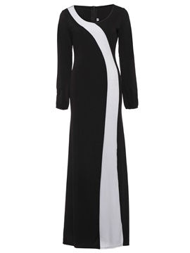 Ericdress Color Block Long Sleeve Women's Maxi Dress
