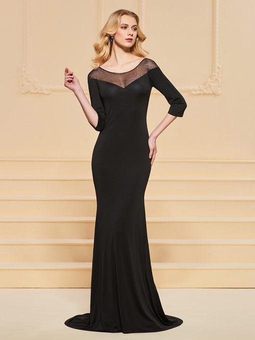 Ericdress 3/4 Sleeve Bateau Neck Black Mermaid Prom Dress