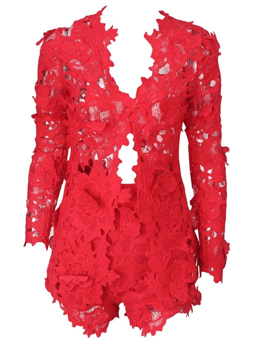Ericdress Lace Hollow Tops and Shorts Women's Two Piece Set