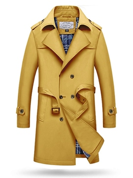 Ericdress Notched Lapel Double-Breasted Men's Trench Coat