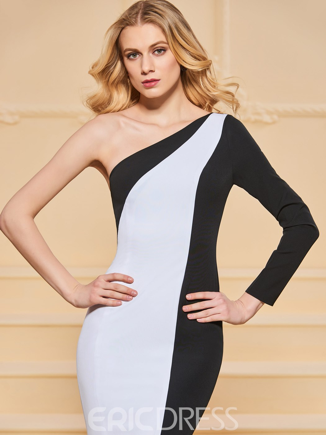 Ericdress One Shoulder Black and White Mermaid Evening Dress