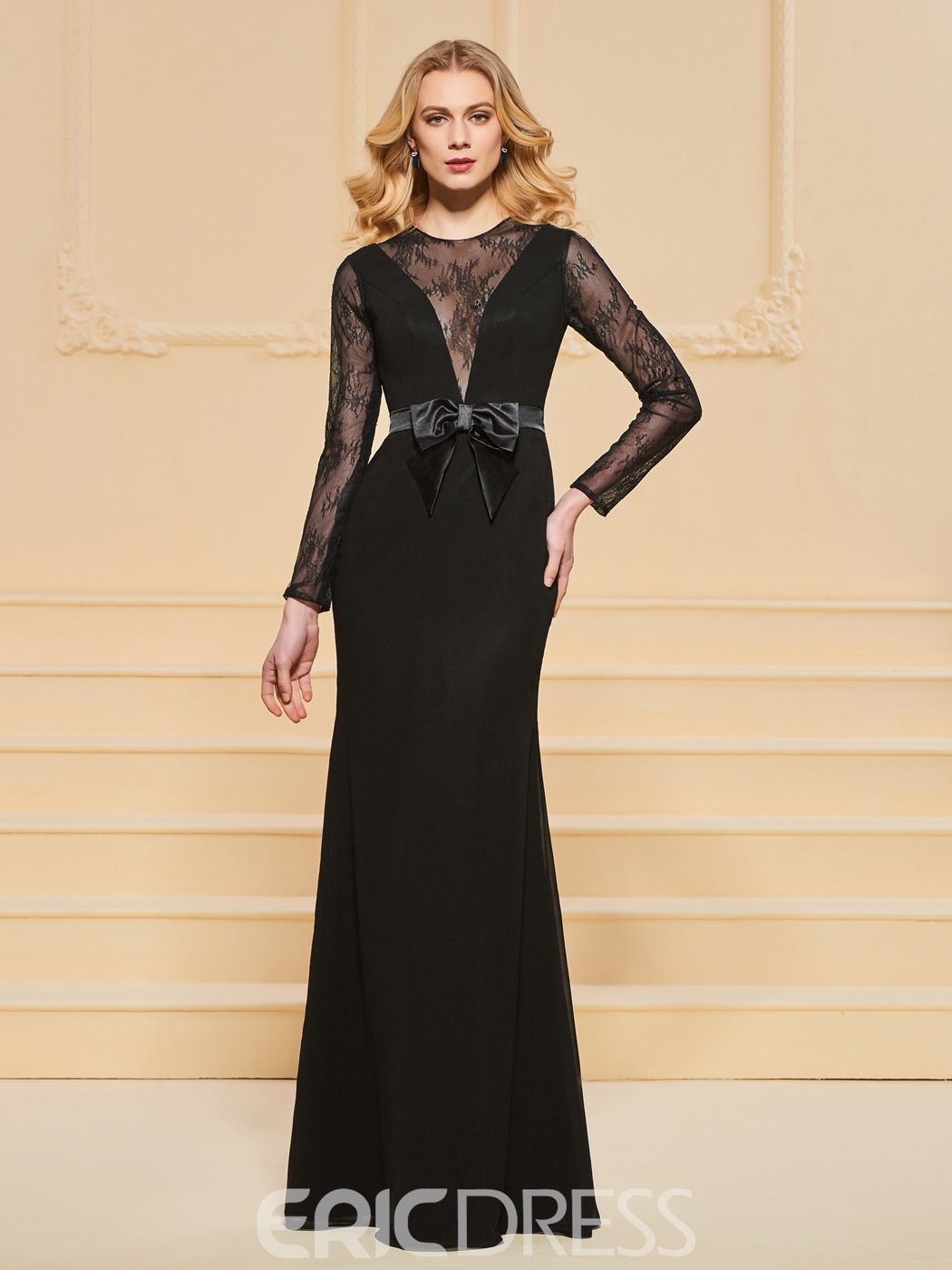 Ericdress Sheath Lace Black Evening Dress With Long Sleeve