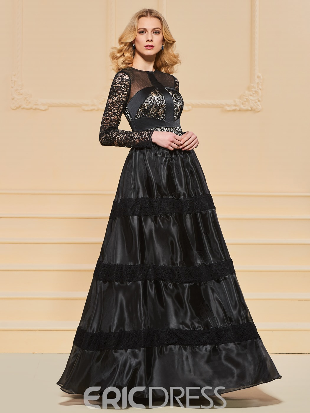 Ericdress A Line Long Sleeve Black Lace Prom Dress