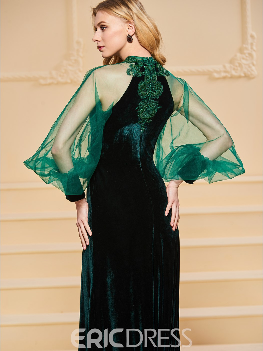 Ericdress A Line Velvet Applique Beaded Long Sleeve Evening Dress