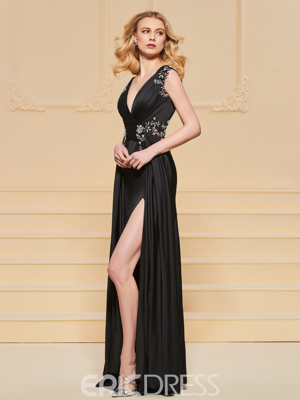 Ericdress A Line V Neck Split Side Backless Prom Dress With Beadings