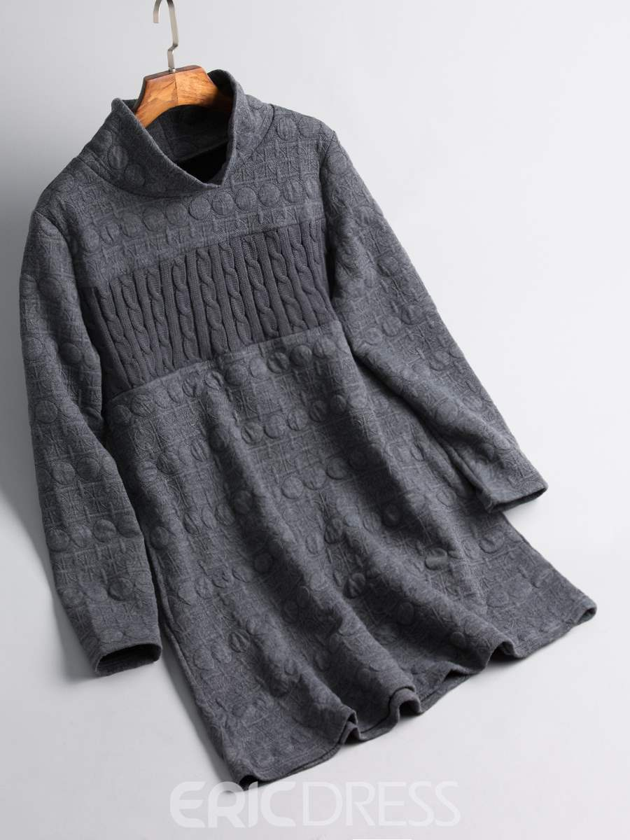 Ericdress Turtleneck Mid-Length Patchwork Sweatshirt