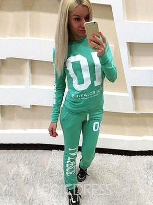 Ericdress Letter Print Pocket Sports Hoodie and Pants Women's Two Piece Sets