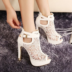 Ericdress Lace Detail Peep Toe White Heeled Platform Sandals фото