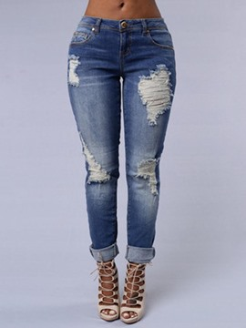 Ericdress Ripped Slim Denim Women's Jeans