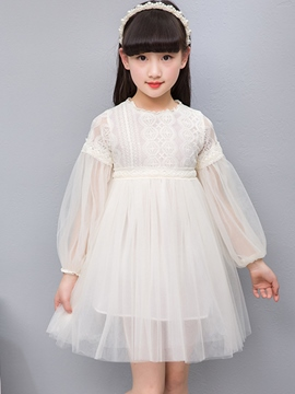 Ericdress Plain Mesh Lace Lantern Sleeve Girl's Princess Dress