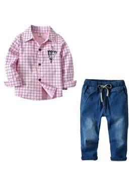 Ericdress Plaid Shirt And Pant Boy's 2-Pcs Outfit