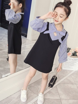 Ericdress Stripe Color Block Lantern Sleeve Girl's Dress