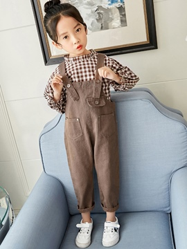 Ericdress Plain Plaid Patchwork Girl's Cotton Outfits Shirt Pants