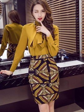 Ericdress Print Bodycon Knee-Length Women's Skirt