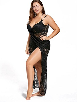 Ericdress Plus Size Black Plain Lace Sexy Beach Dress