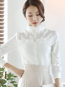 Ericdress Plain Slim Stand Collar Single-Breasted Shirt