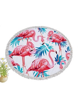 Ericdress Flamingo Tassel Round Beach Blanket